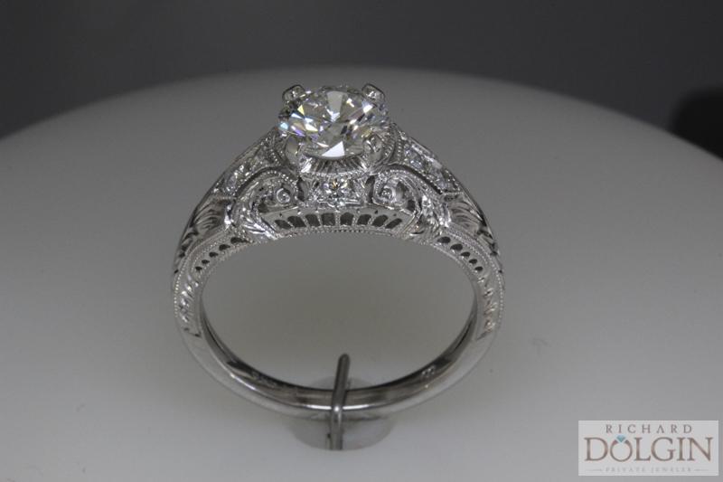 Platinum vintage inspired ring