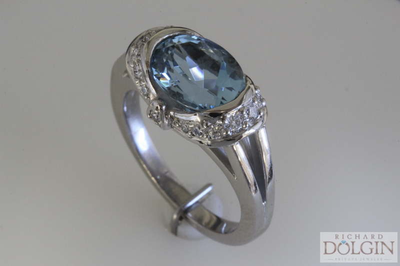 Blue zircon and diamond ring