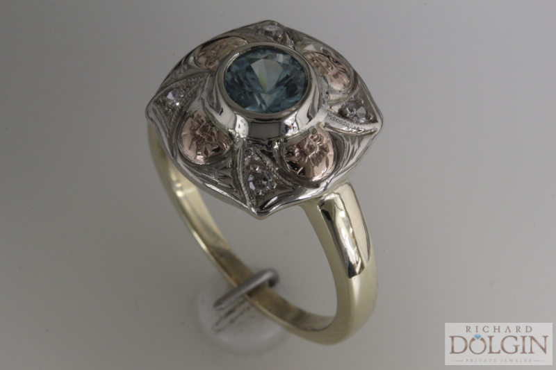 Antique blue zircon ring