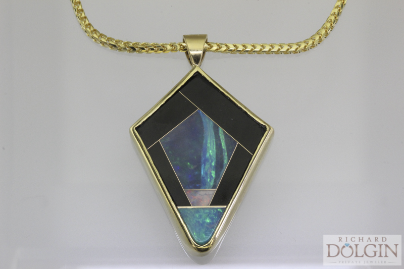 18K Yellow Gold Intarsia Necklace