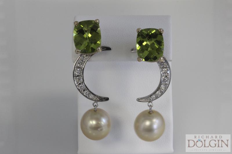 Peridot, Diamond and Pearl Earrings