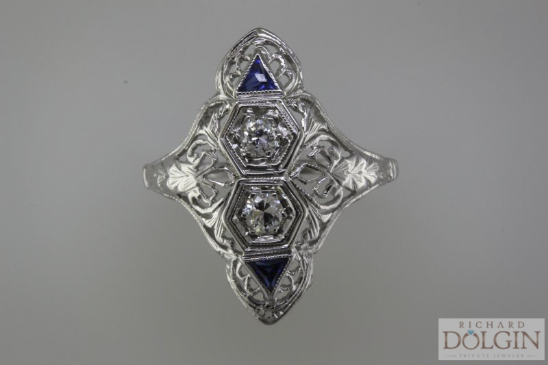 Diamond and sapphire antique ring