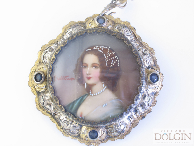 Hand painted antique cameo