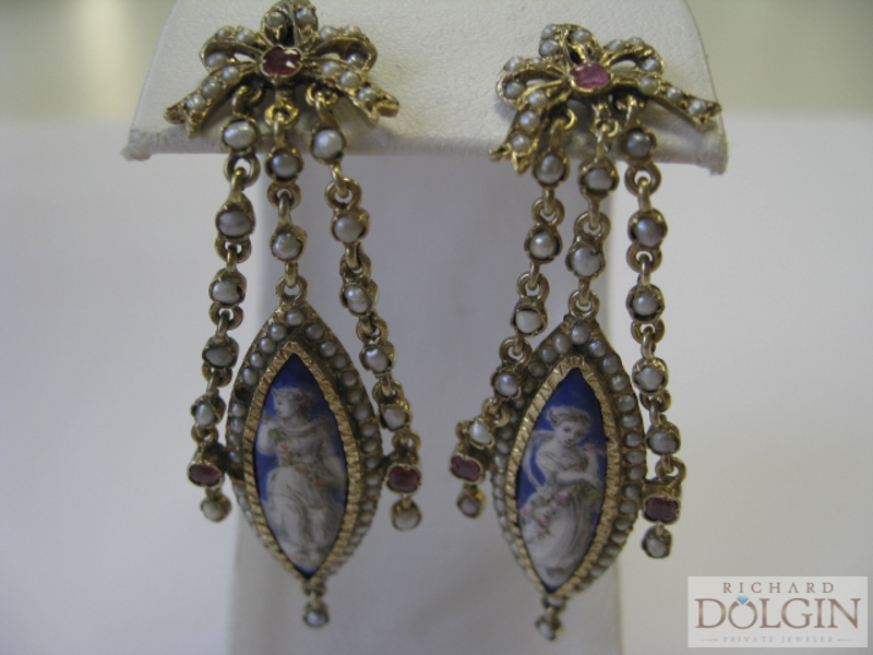 Antique gold and pearl cameo earrings