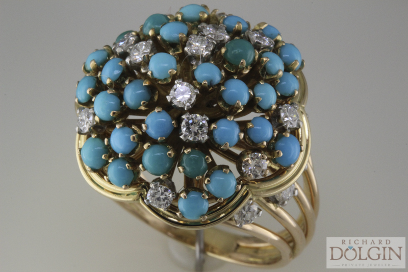 Antique diamond and turquoise ring