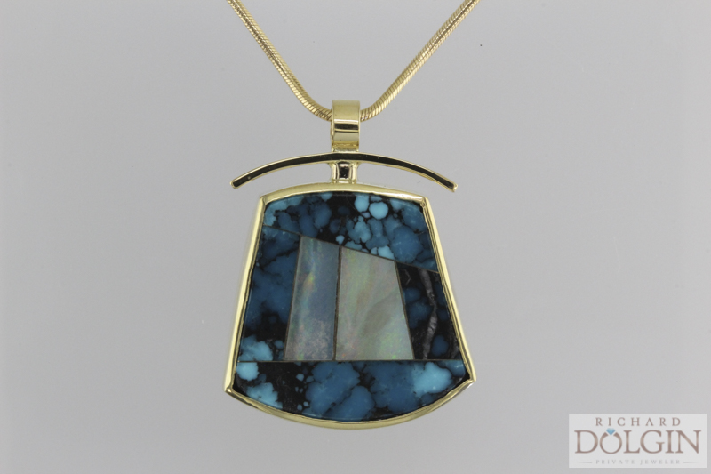 18k yellow gold, turquoise and black opal pendant
