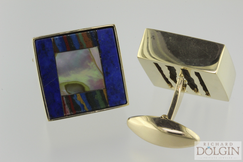 18k yellow gold lapis, rainbow chalcedony and abalone cuff links