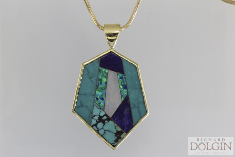 18k yellow gold, apatite, black opal and turquoise pendant