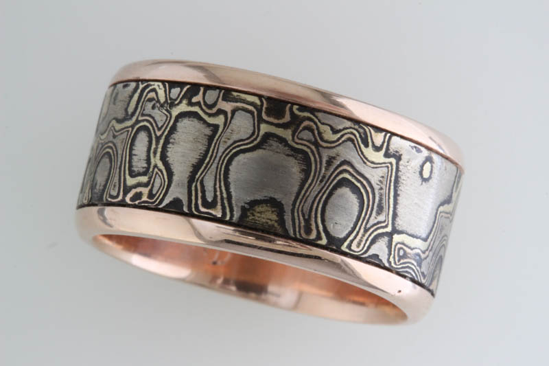 Rose gold and mokume band