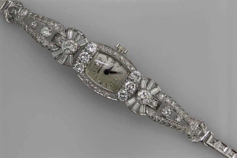Antique platinum diamond watch