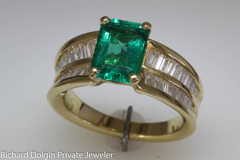 Emerald and Baguette Diamond