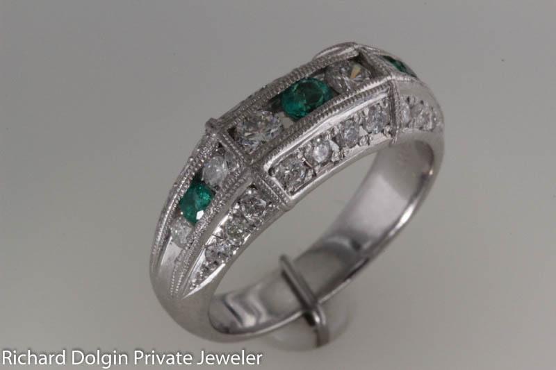Platinum Emerald and Diamond Band
