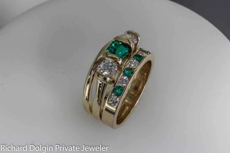 Emerald and Diamond Wedding Set