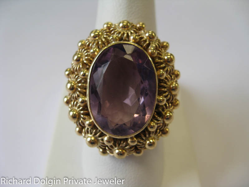 Amethyst handmade antique ring