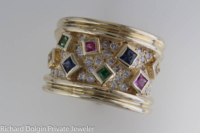 18k Vintage 70s multicolor sapphire ring with pave diamonds