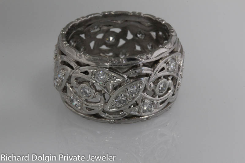 Platinum and diamond filigree band