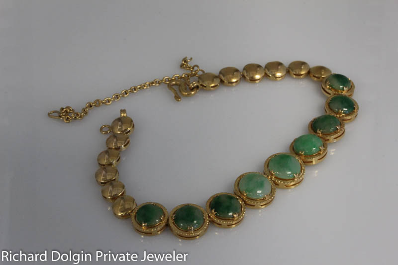 22k gold antique jade bracelet