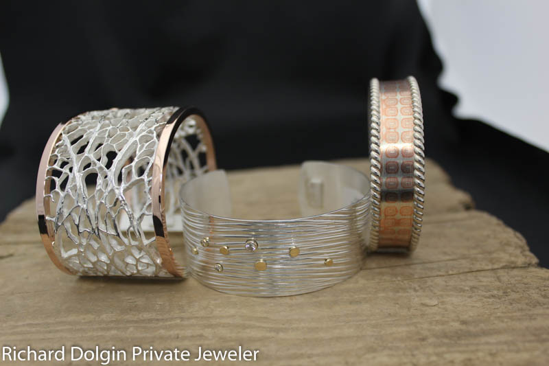 Cactus, wave and Mokume Gane bracelets