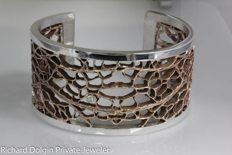 Silver and bronze cactus design bracelet
