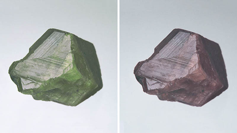 Rough alexandrite in different light