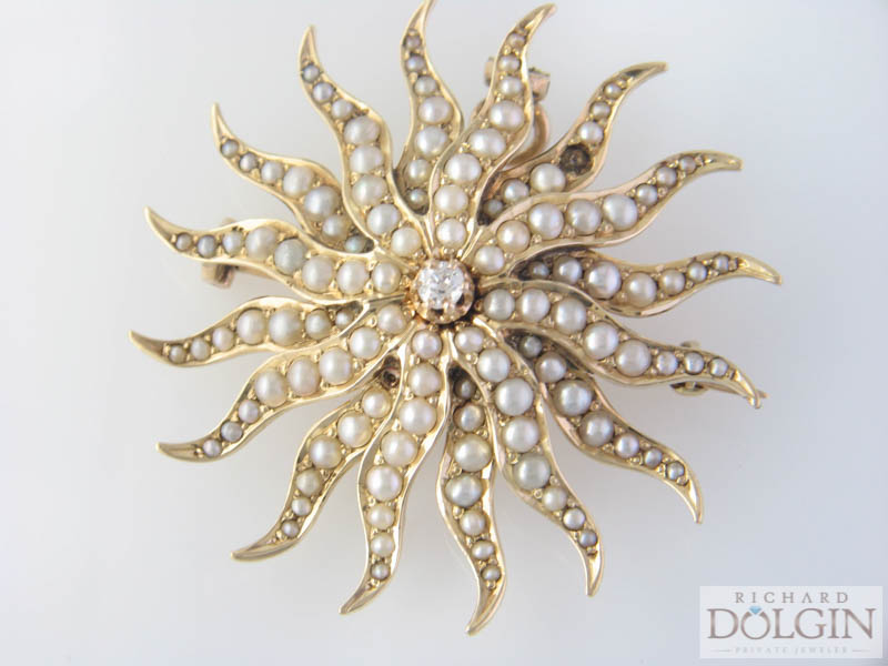 Antique pearl starburst pin