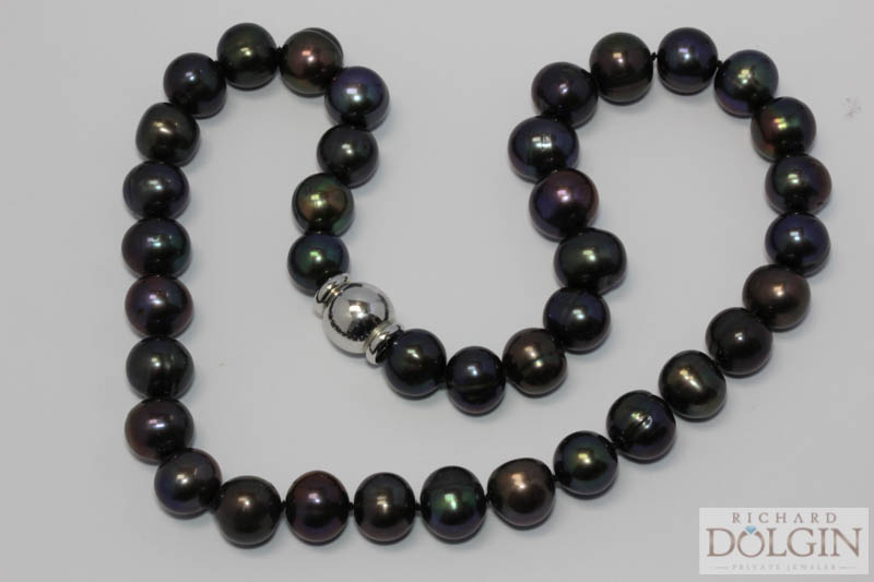 Strand of black South Sea pearls
