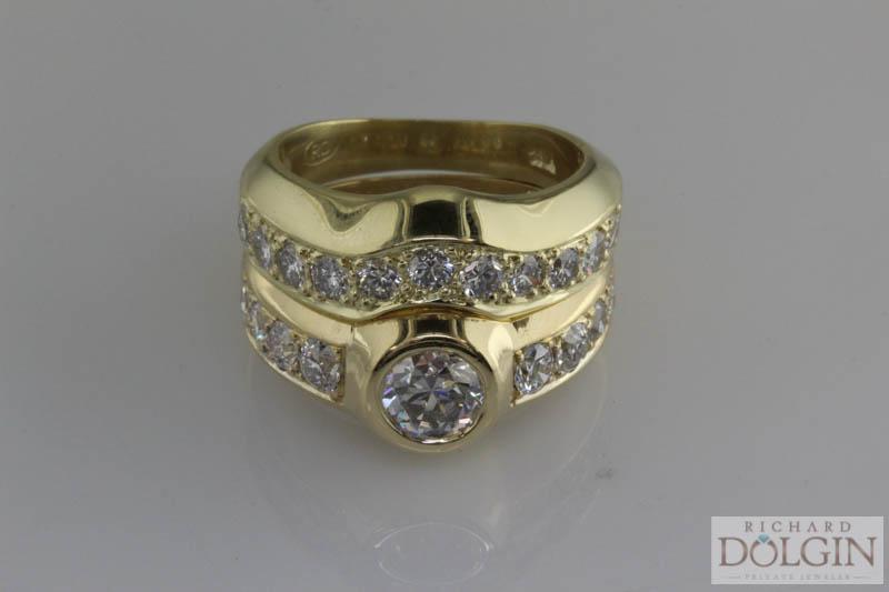 Custom matching wedding band in yellow gold