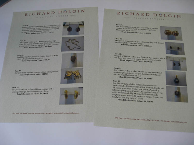 Appraisal documents at Richard Dolgin Private Jeweler
