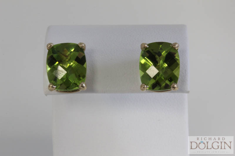 Cushion shaped Peridot earrings