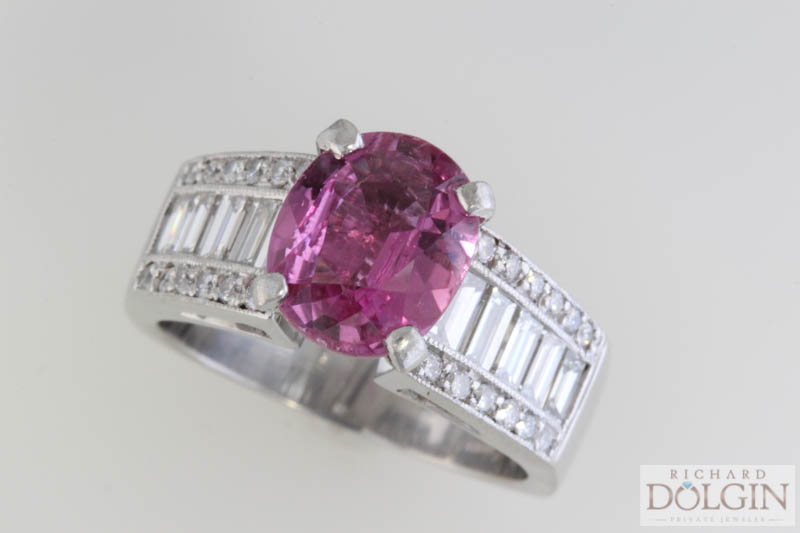 Pink sapphire with baguette diamonds