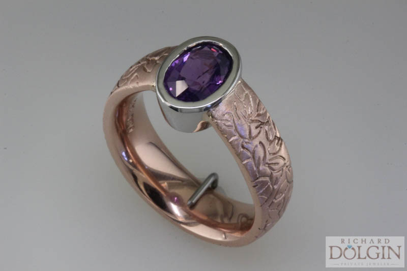 Purple sapphire set in rose gold