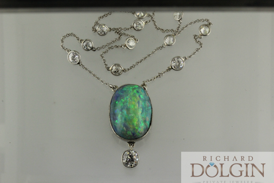 Antique black opal station pendant
