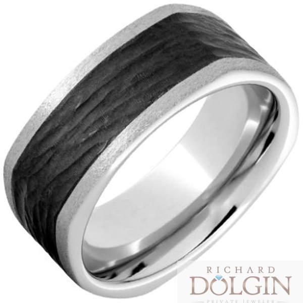 Serinium band with black ceramic inlay
