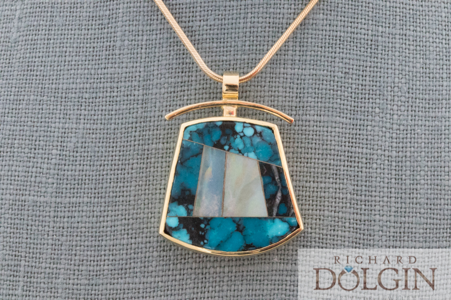 Intarsia spider web turquoise and opal pendant