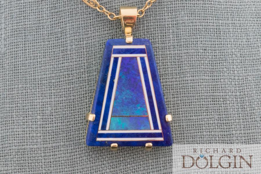 Inlaid lapis and black opal pendant