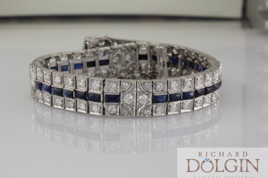Platinum sapphire and diamond bracelet