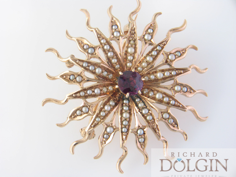 Pearl and garnet starburst brooch