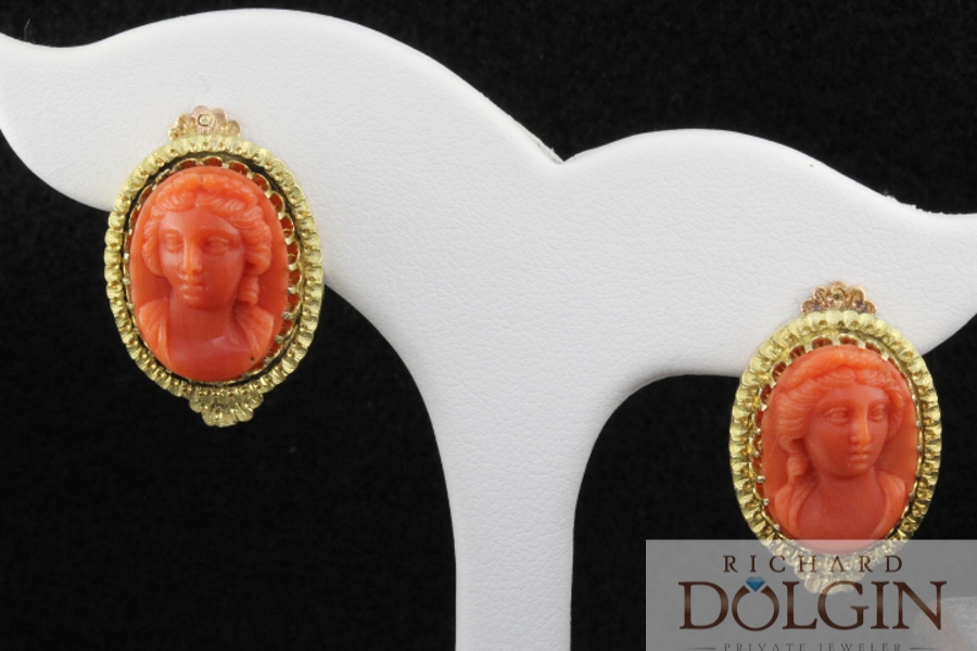 Cameo coral earrings