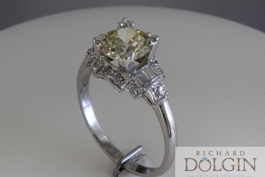 Certified yellow diamond ring