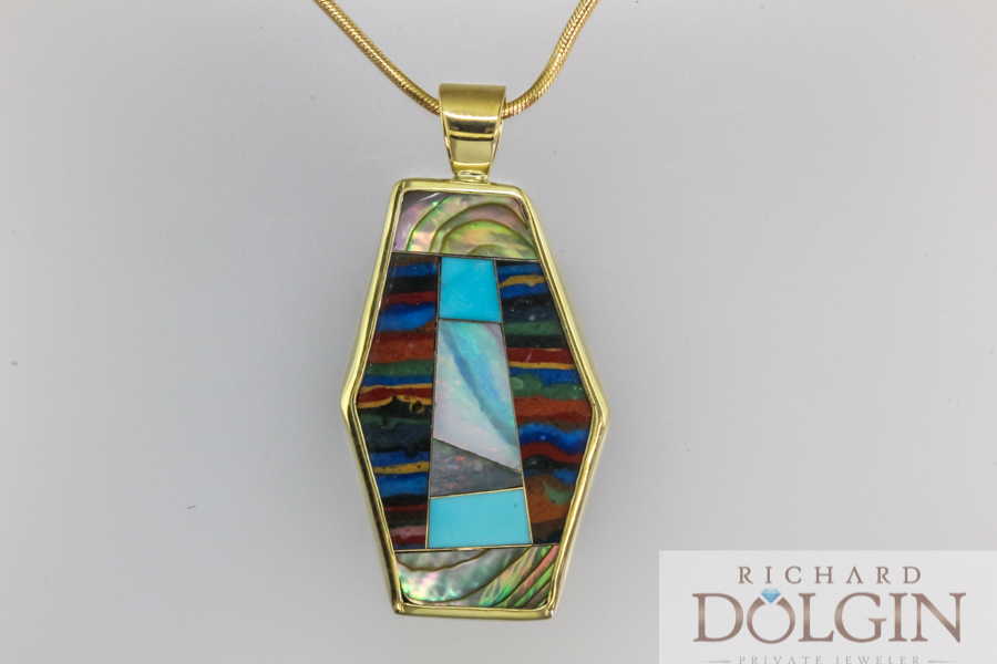 Chalcedony, mother of pearl and turquoise pendant