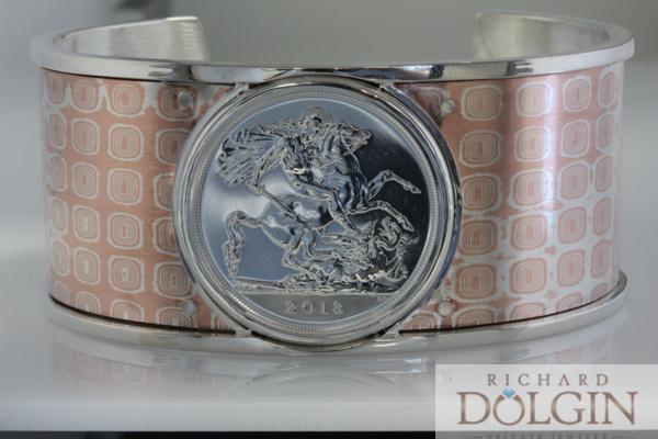 Dragon coin in Mokume bracelet