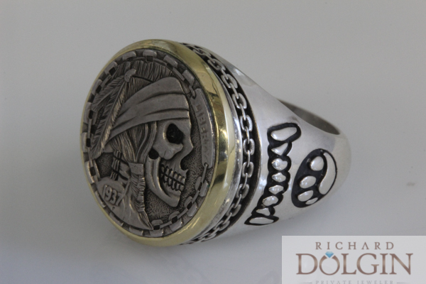 Hobo nickel pirate coin ring
