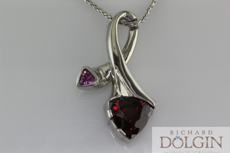 Pink sapphire and garnet pendant