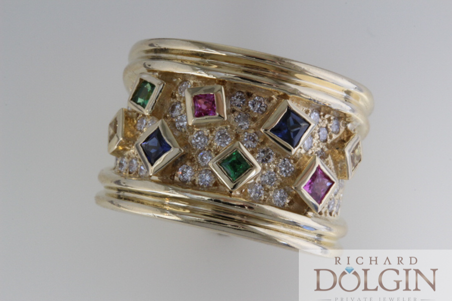 Wide band with sapphires and diamonds