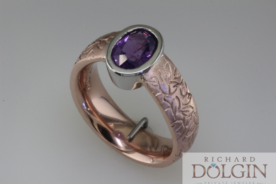 Purple sapphire in rose gold ring