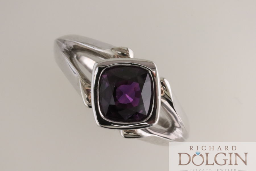 Cushion cut purple sapphire in white and rose gold ring