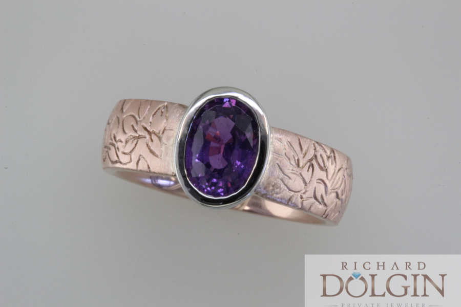 Purple sapphire in platinum and rose gold