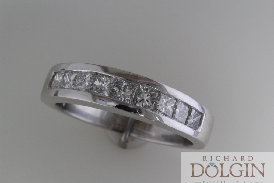 Channel set white gold wedding band