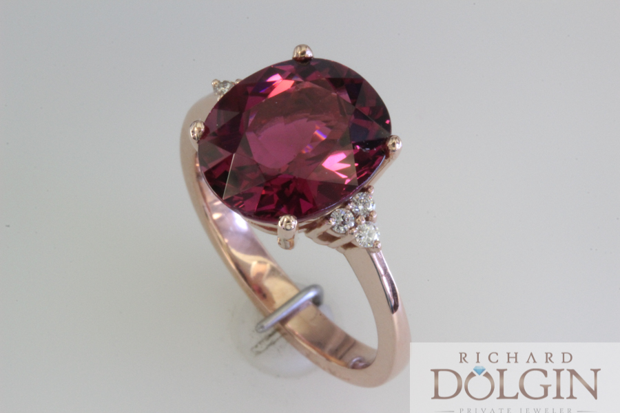 Rhodolite garnet set in rose gold