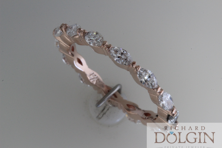 Rose gold and marquise diamond ring